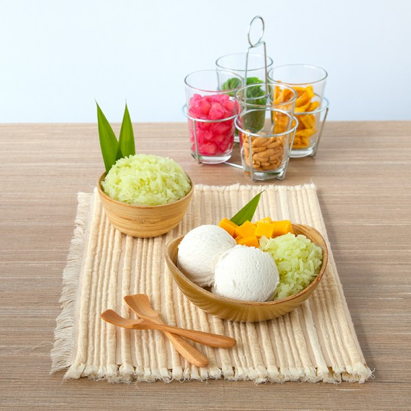 Pandan Scented Sticky Rice with Coconut Ice Cream
